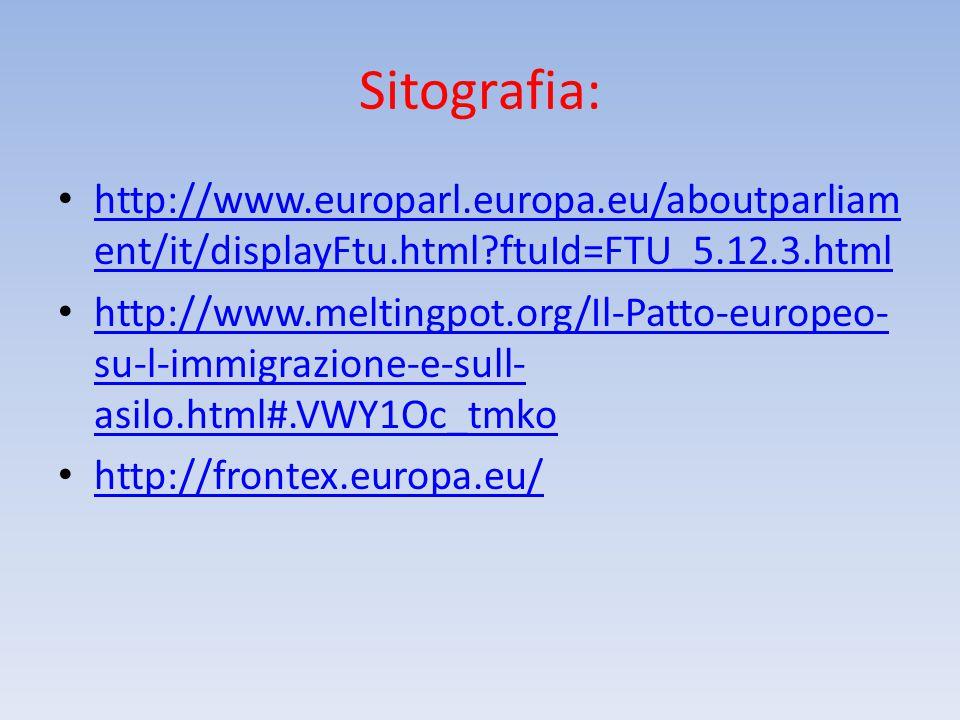 Sitografia: http://www.europarl.europa.eu/aboutparliament/it/displayFtu.html ftuId=FTU_5.12.3.html.