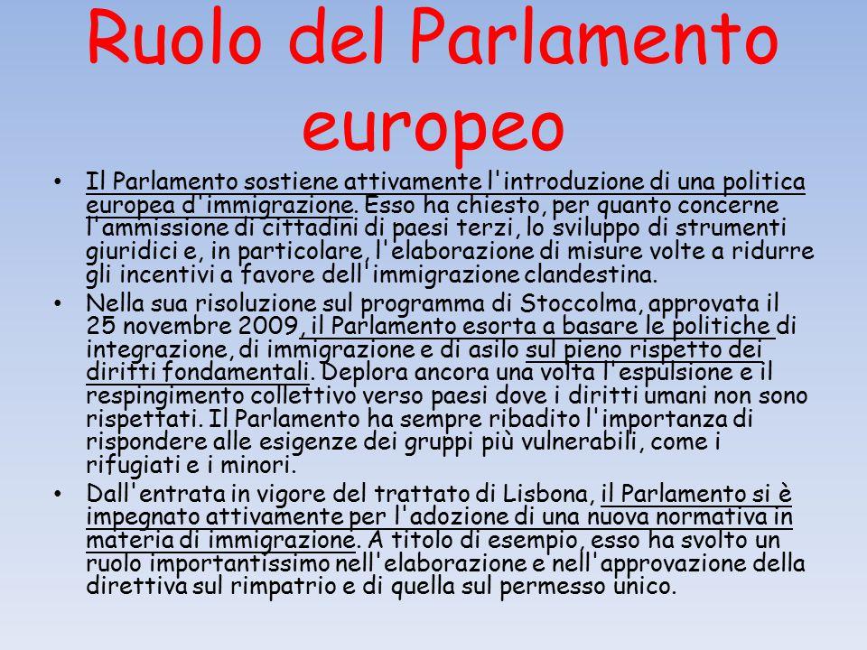Ruolo del Parlamento europeo