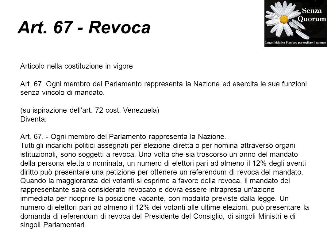 Art. 67 - Revoca Articolo nella costituzione in vigore