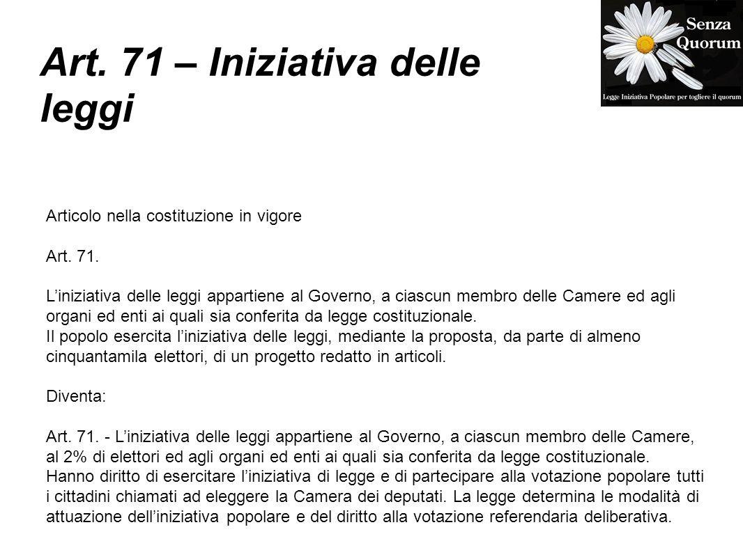 Art. 71 – Iniziativa delle leggi
