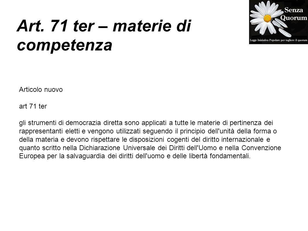 Art. 71 ter – materie di competenza