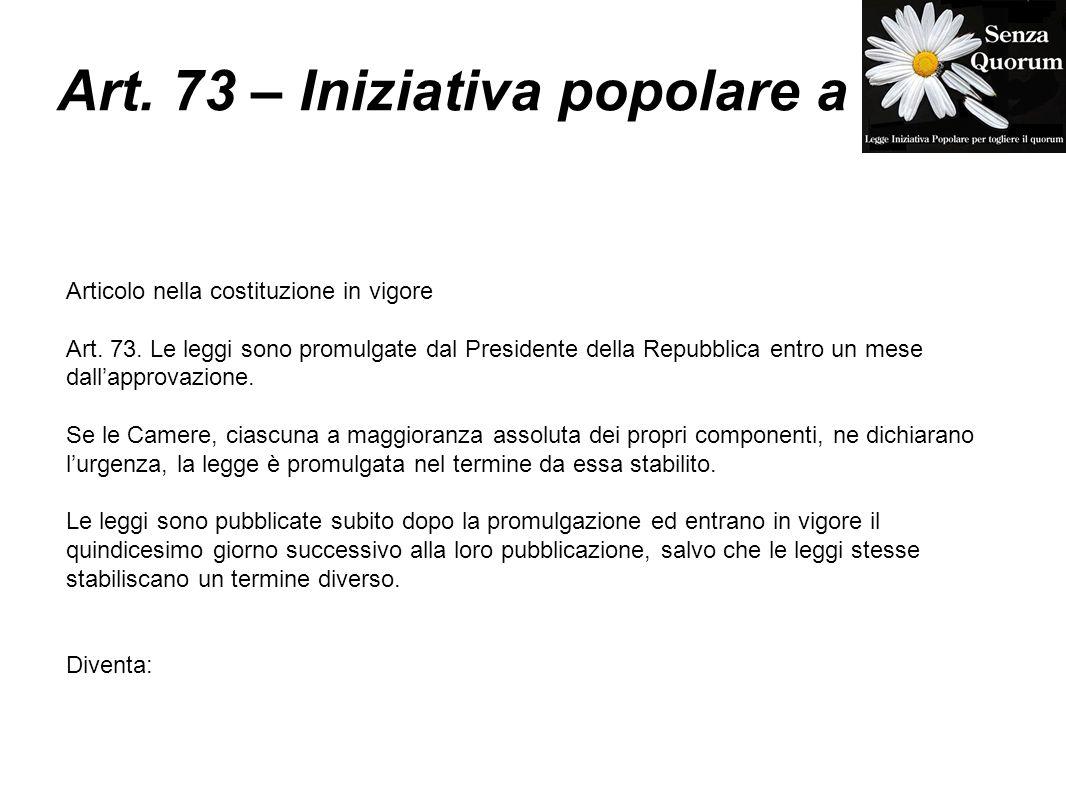 Art. 73 – Iniziativa popolare a