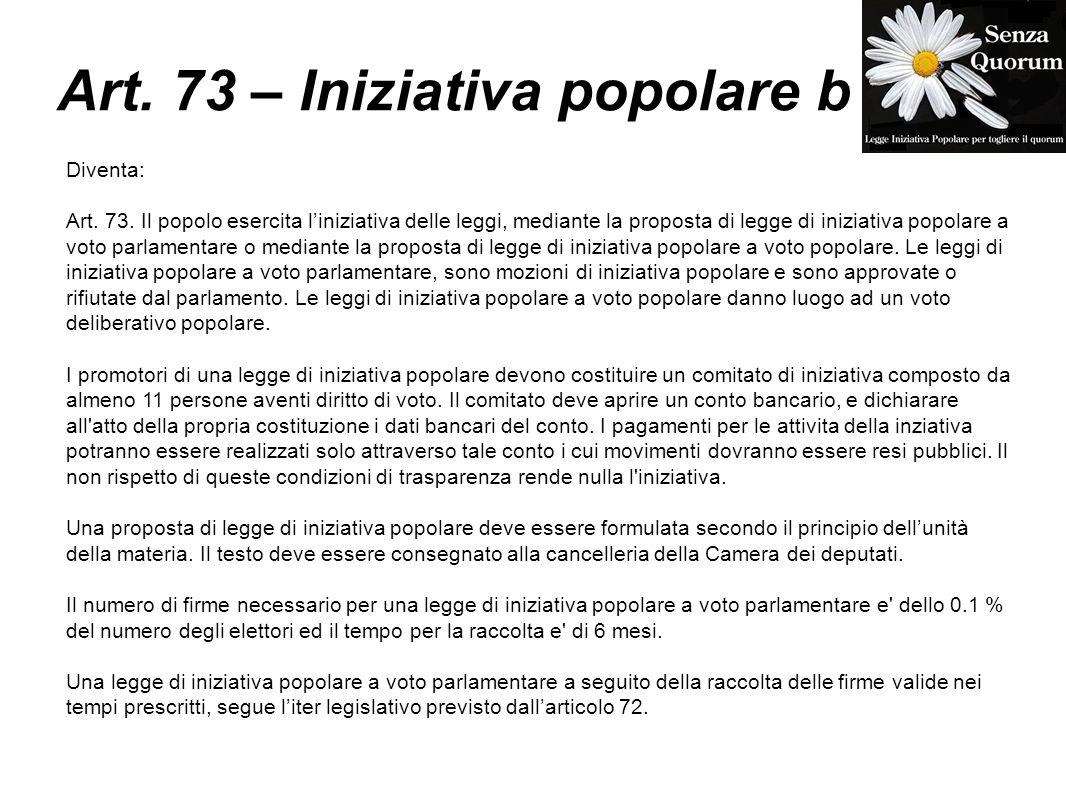 Art. 73 – Iniziativa popolare b