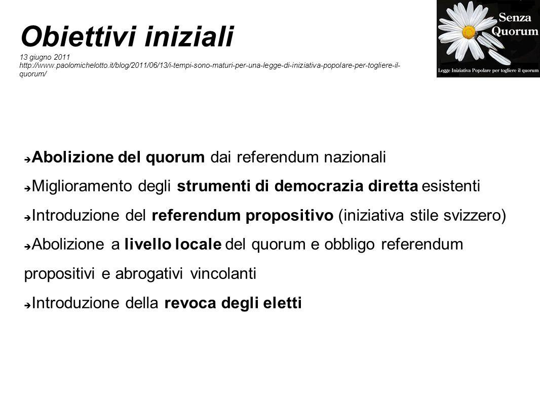 Obiettivi iniziali Abolizione del quorum dai referendum nazionali