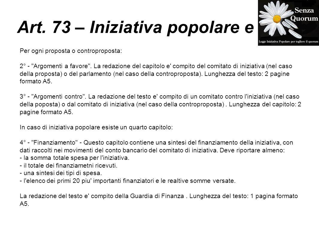 Art. 73 – Iniziativa popolare e