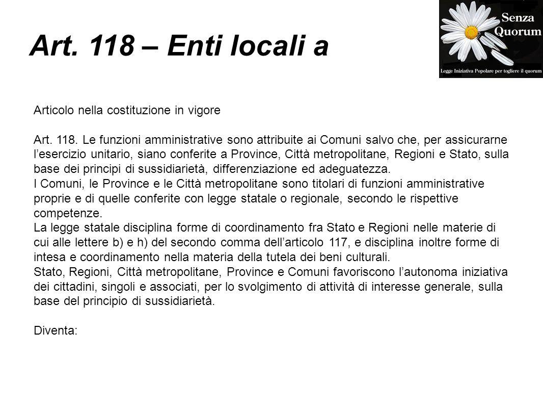 Art. 118 – Enti locali a Articolo nella costituzione in vigore