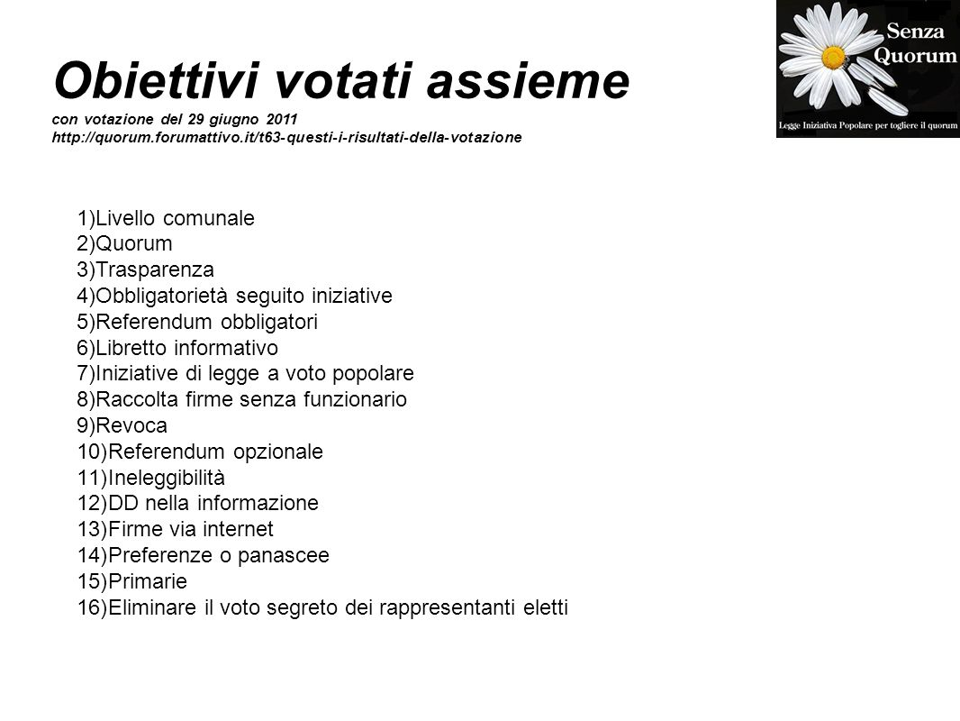 Obiettivi votati assieme