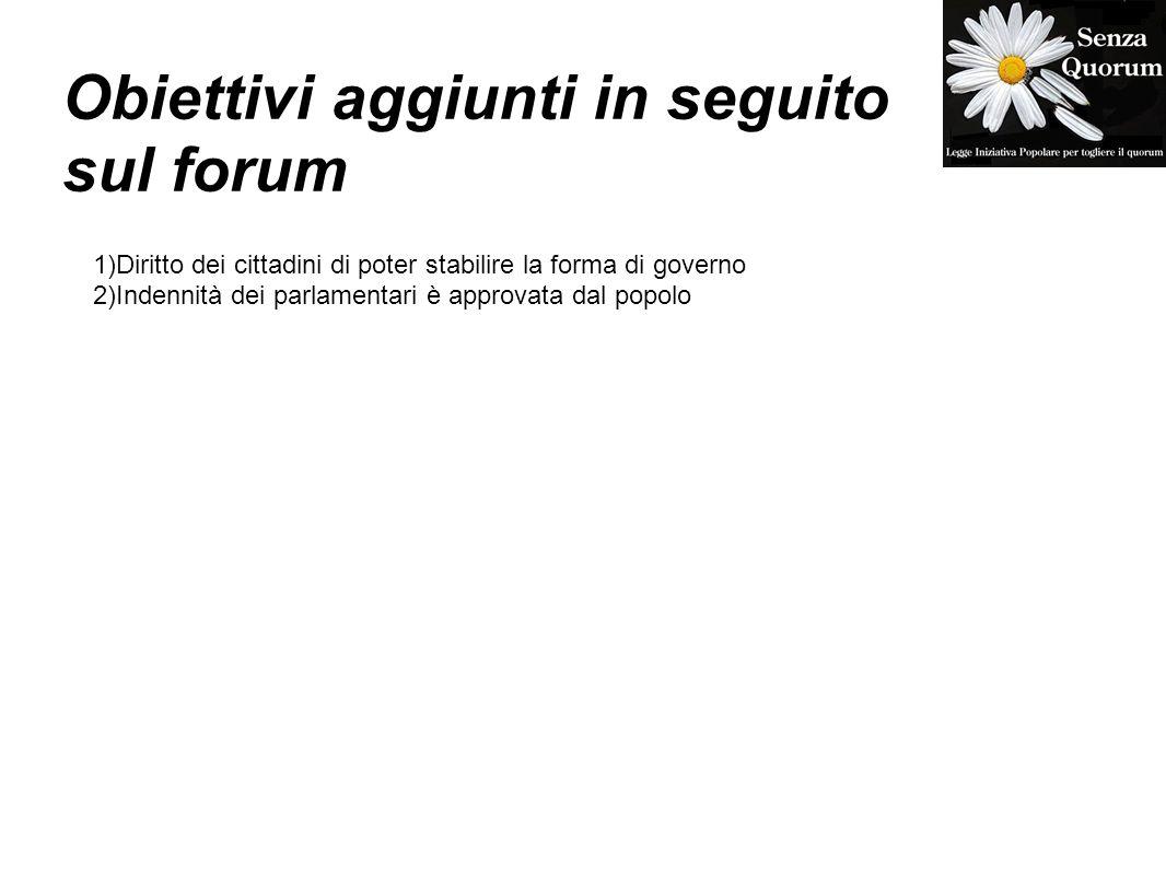 Obiettivi aggiunti in seguito sul forum