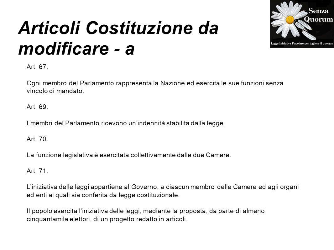 Articoli Costituzione da modificare - a