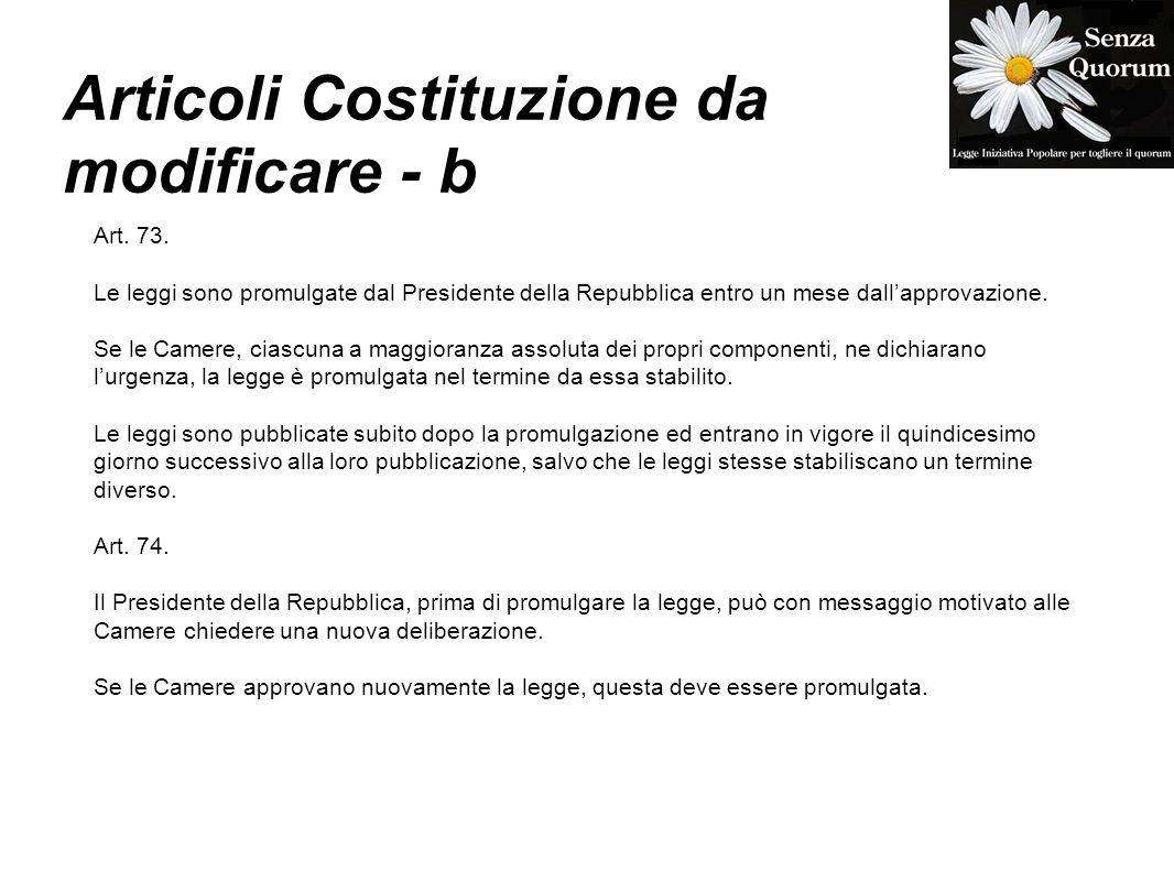 Articoli Costituzione da modificare - b