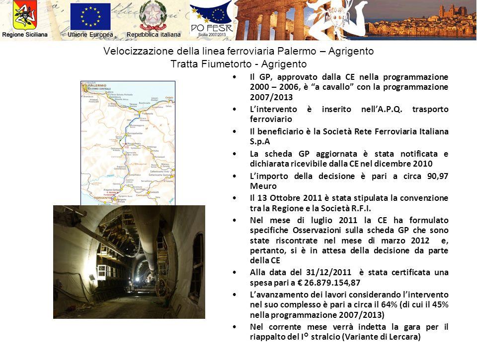 Velocizzazione della linea ferroviaria Palermo – Agrigento Tratta Fiumetorto - Agrigento