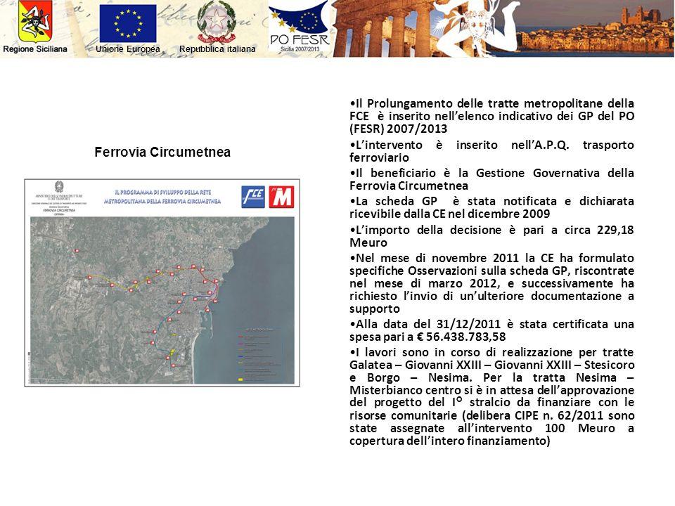 Il Prolungamento delle tratte metropolitane della FCE è inserito nell'elenco indicativo dei GP del PO (FESR) 2007/2013