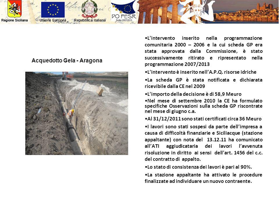 Acquedotto Gela - Aragona