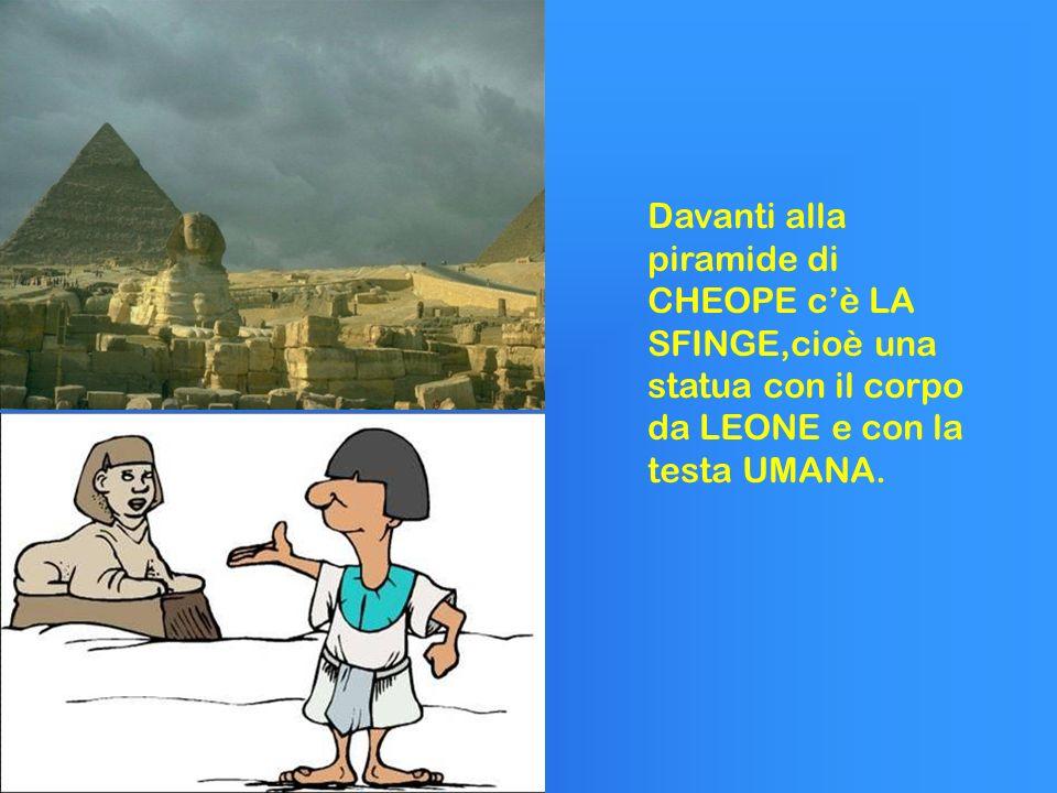 Davanti alla piramide di CHEOPE c'è LA SFINGE,cioè una statua con il corpo da LEONE e con la testa UMANA.
