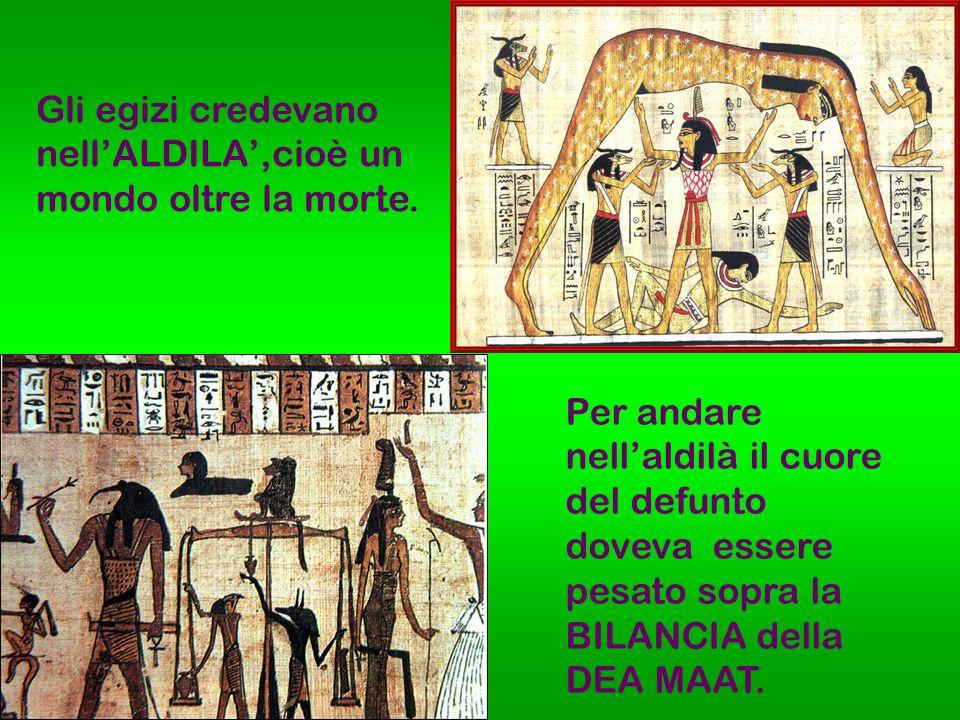 Gli egizi credevano nell'ALDILA',cioè un mondo oltre la morte.