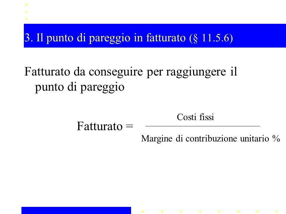3. Il punto di pareggio in fatturato (§ 11.5.6)