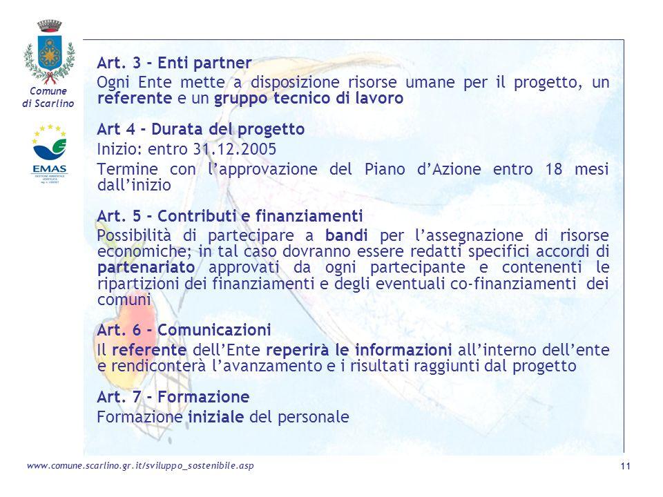 Art. 3 - Enti partner Ogni Ente mette a disposizione risorse umane per il progetto, un referente e un gruppo tecnico di lavoro.
