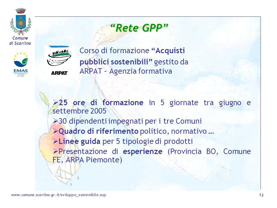 Rete GPP pubblici sostenibili gestito da ARPAT – Agenzia formativa