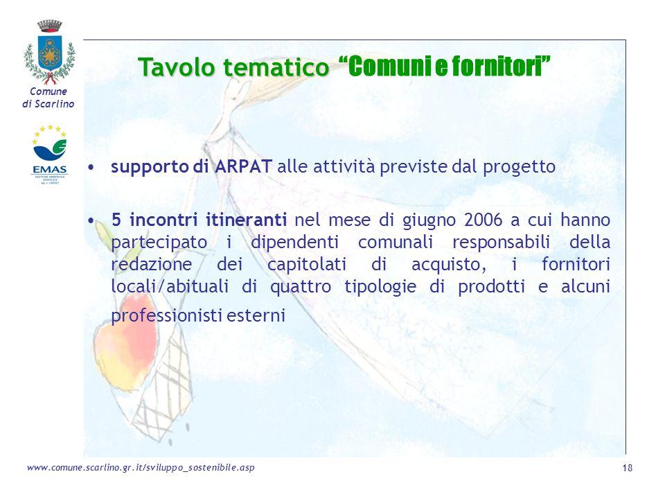Tavolo tematico Comuni e fornitori