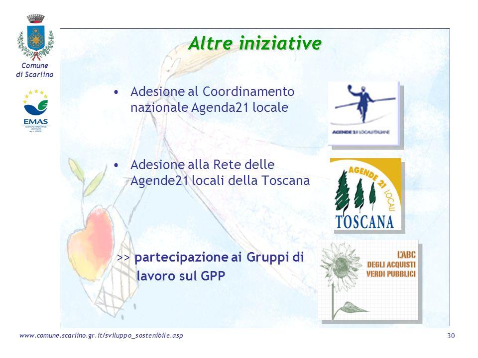Altre iniziative Adesione al Coordinamento nazionale Agenda21 locale