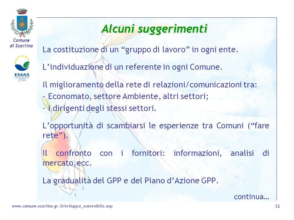 Alcuni suggerimenti La costituzione di un gruppo di lavoro in ogni ente. L'individuazione di un referente in ogni Comune.