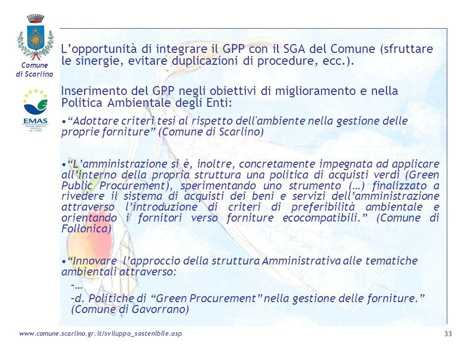 L'opportunità di integrare il GPP con il SGA del Comune (sfruttare le sinergie, evitare duplicazioni di procedure, ecc.).
