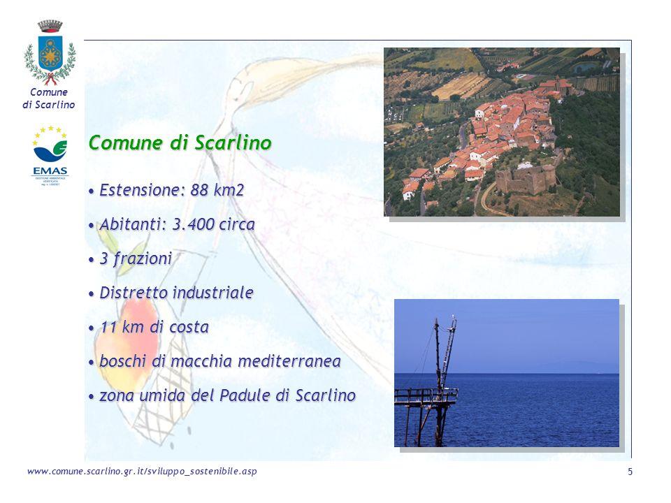 Comune di Scarlino Estensione: 88 km2 Abitanti: 3.400 circa 3 frazioni