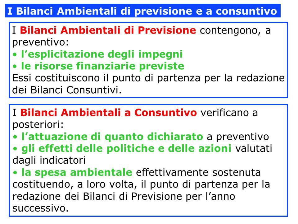 I Bilanci Ambientali di previsione e a consuntivo