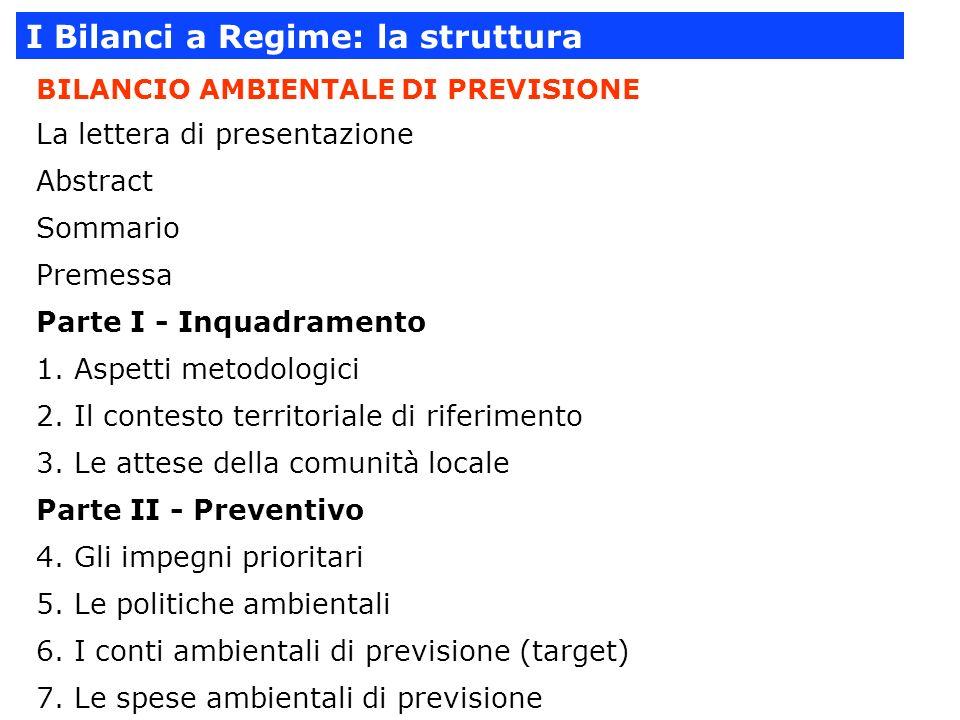 I Bilanci a Regime: la struttura