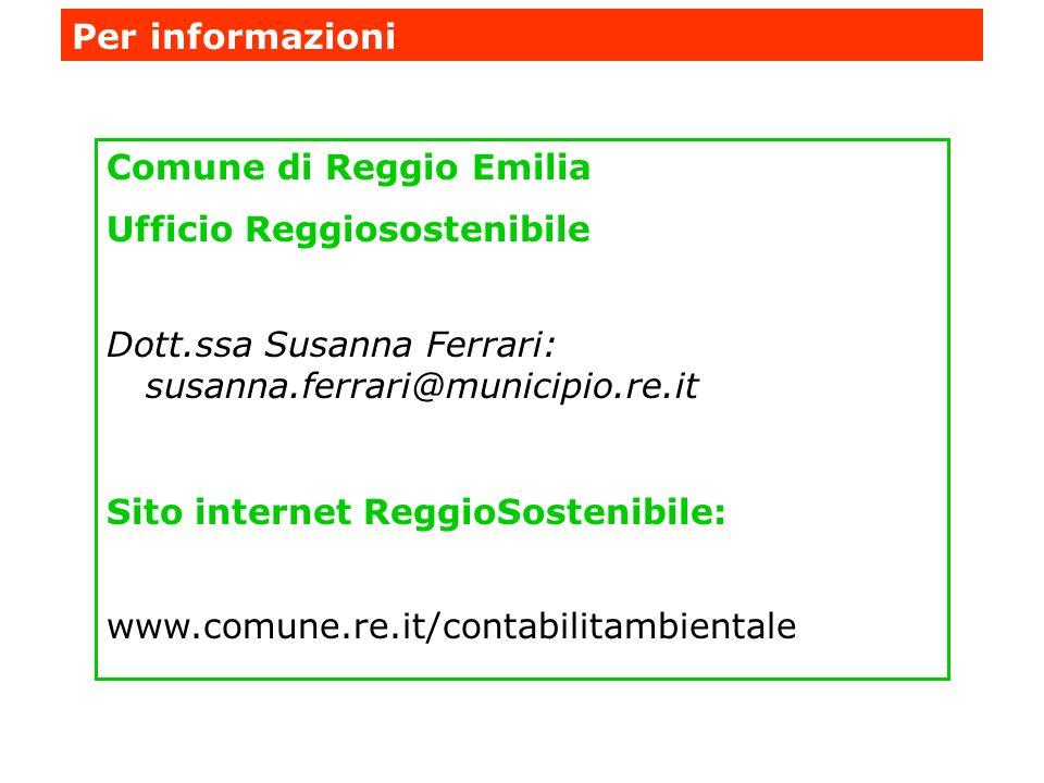 Per informazioni Comune di Reggio Emilia. Ufficio Reggiosostenibile. Dott.ssa Susanna Ferrari: susanna.ferrari@municipio.re.it.