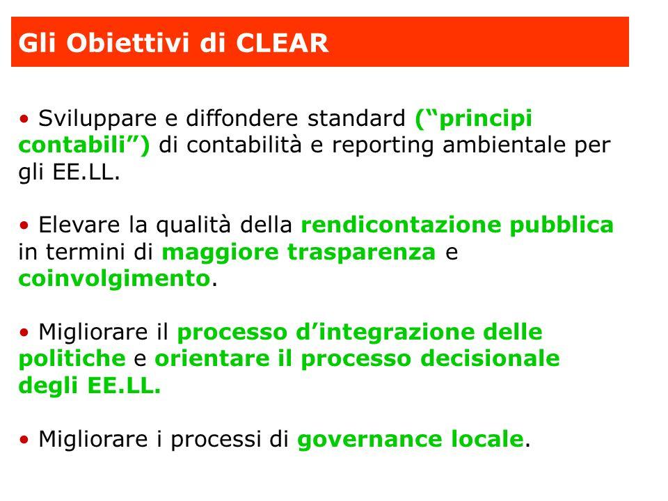 Gli Obiettivi di CLEAR Sviluppare e diffondere standard ( principi contabili ) di contabilità e reporting ambientale per gli EE.LL.
