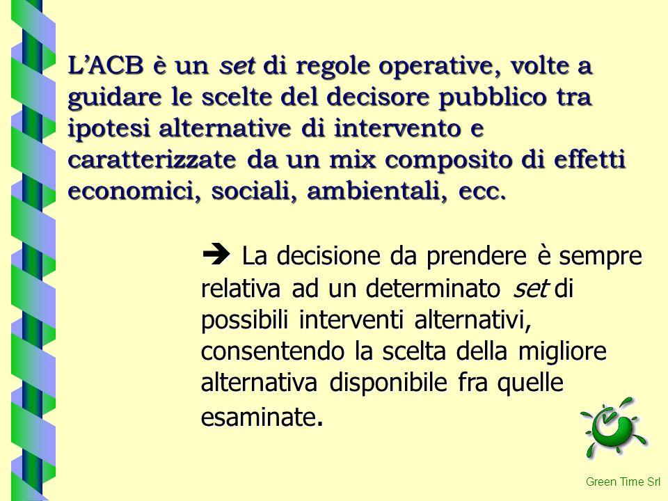 L'ACB è un set di regole operative, volte a guidare le scelte del decisore pubblico tra ipotesi alternative di intervento e caratterizzate da un mix composito di effetti economici, sociali, ambientali, ecc.