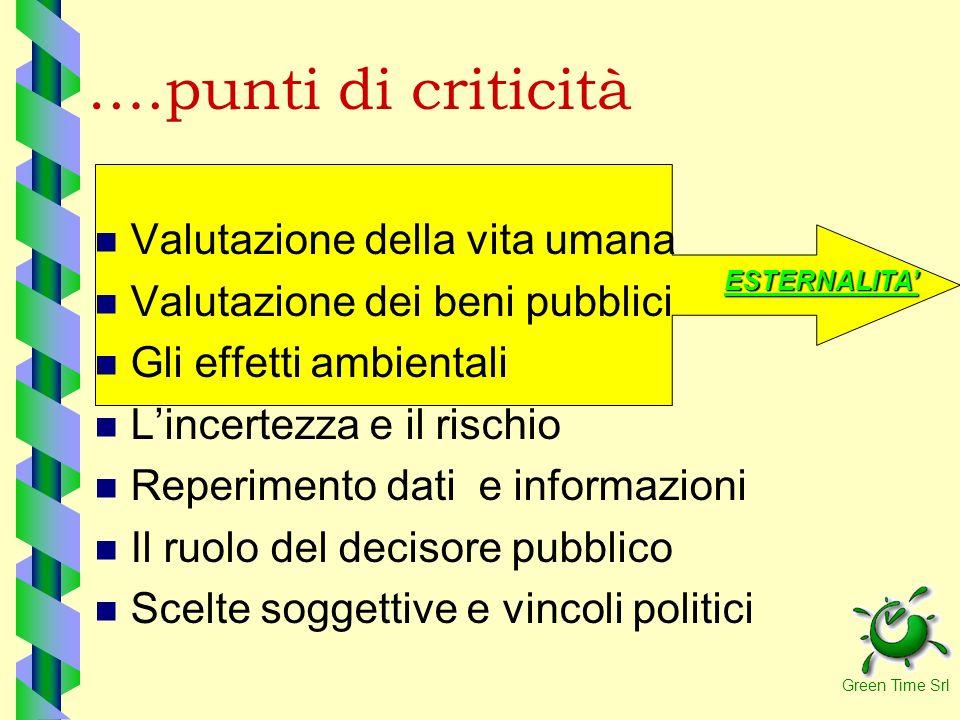 ….punti di criticità Valutazione della vita umana
