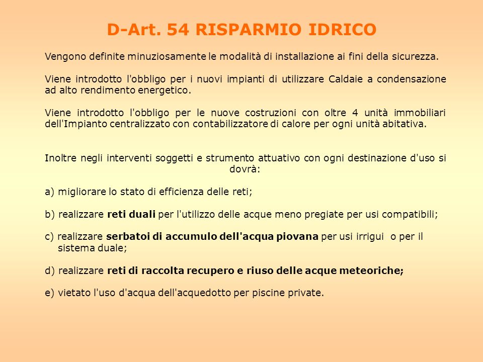 D-Art. 54 RISPARMIO IDRICO