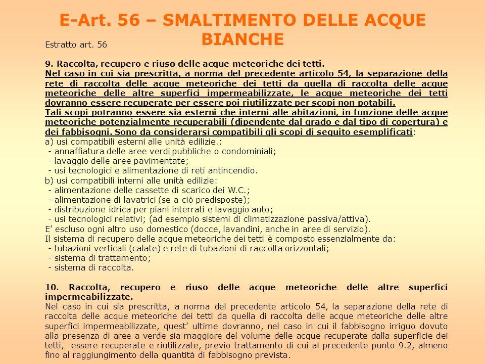 E-Art. 56 – SMALTIMENTO DELLE ACQUE BIANCHE