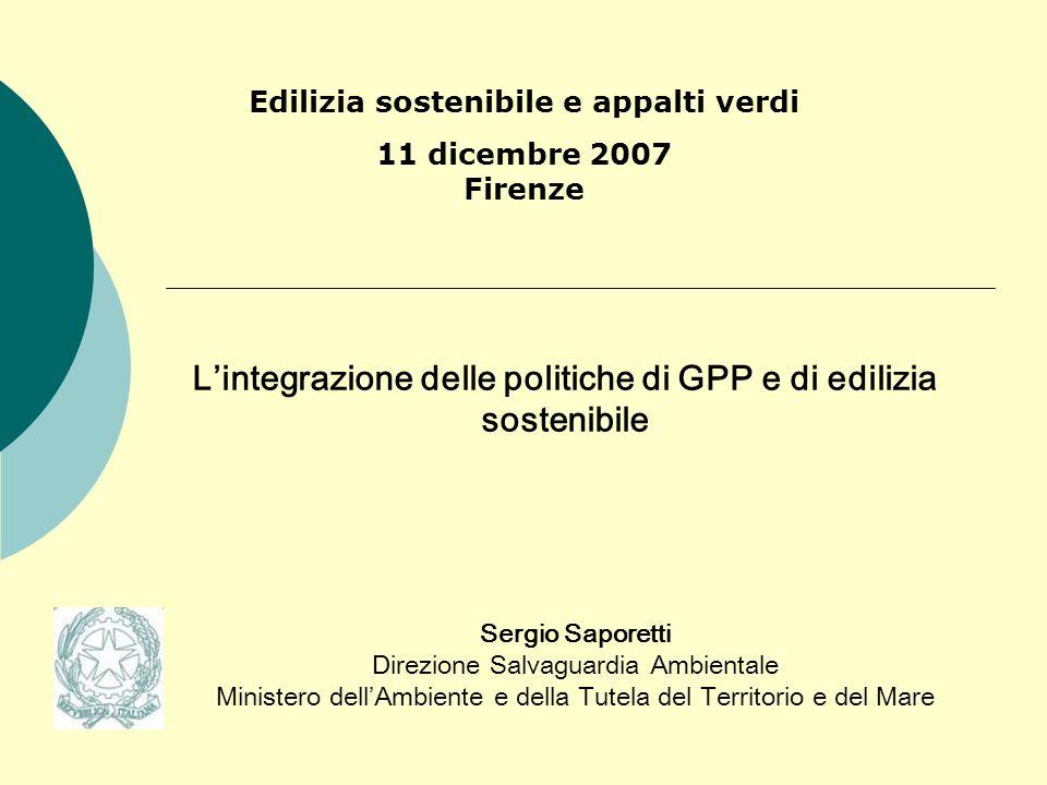 L'integrazione delle politiche di GPP e di edilizia sostenibile