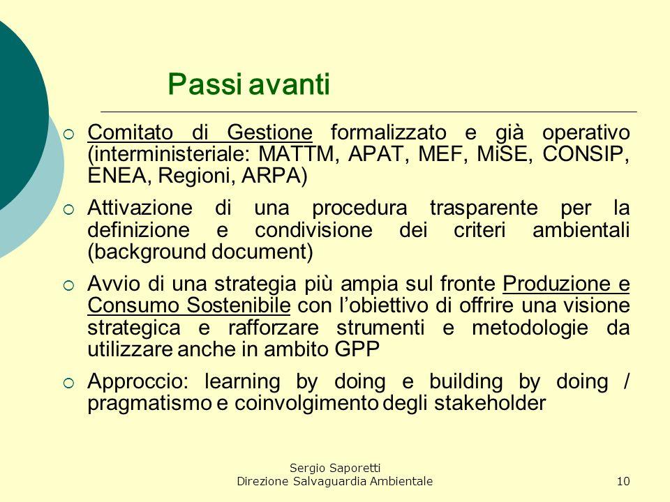 Sergio Saporetti Direzione Salvaguardia Ambientale