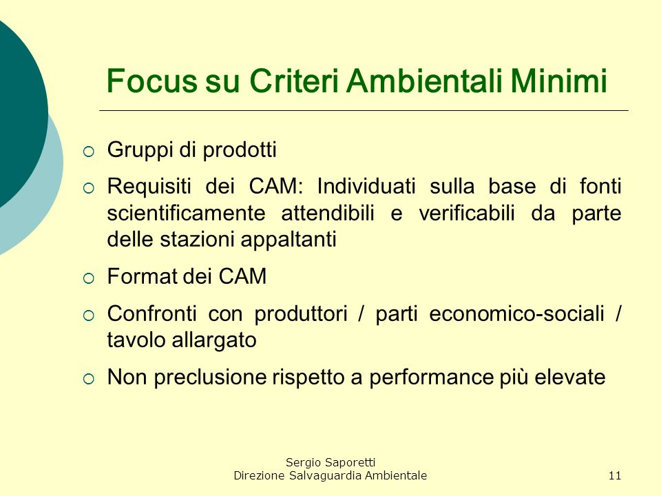 Focus su Criteri Ambientali Minimi