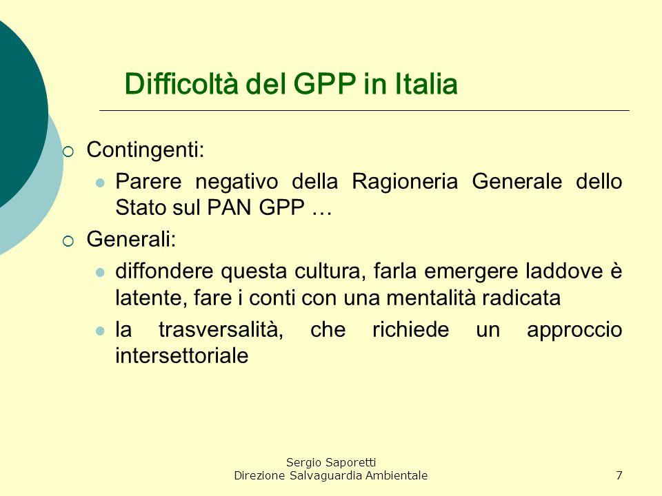 Difficoltà del GPP in Italia