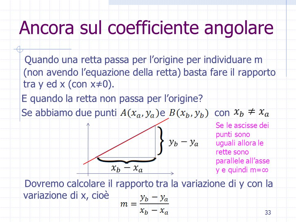 Ancora sul coefficiente angolare