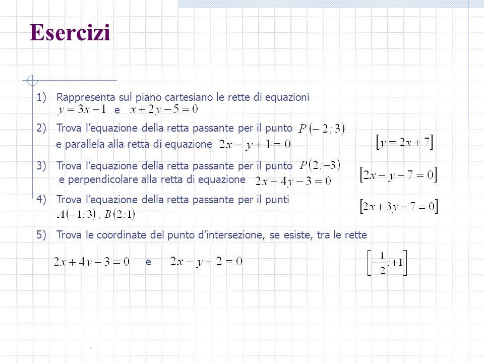 Esercizi 1) Rappresenta sul piano cartesiano le rette di equazioni