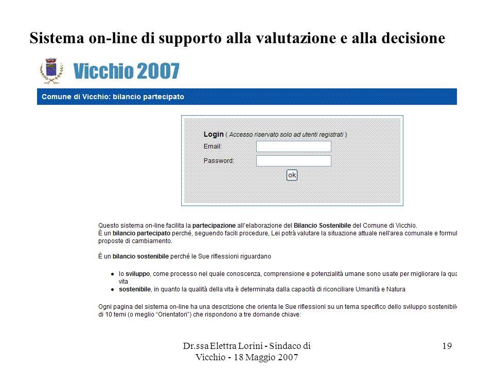 Sistema on-line di supporto alla valutazione e alla decisione
