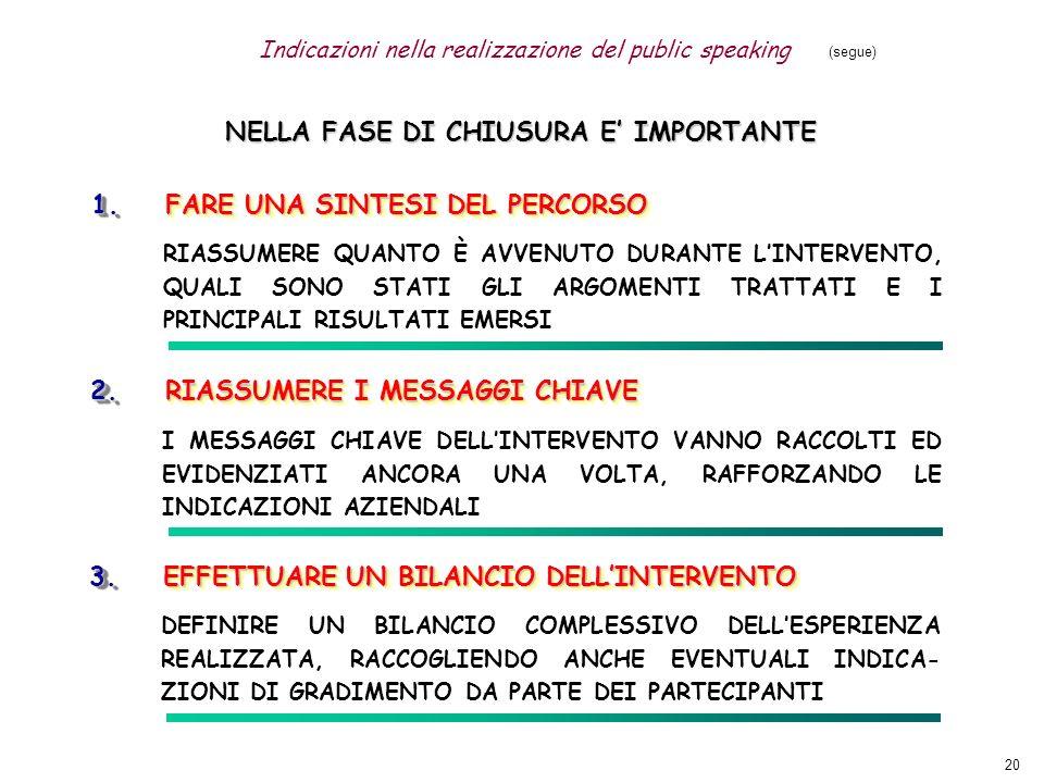 NELLA FASE DI CHIUSURA E' IMPORTANTE