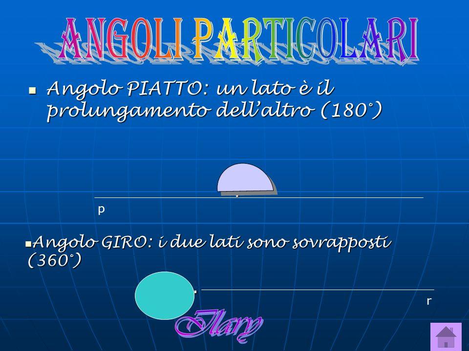ANGOLI PARTICOLARI Angolo PIATTO: un lato è il prolungamento dell'altro (180°) . p. Angolo GIRO: i due lati sono sovrapposti (360°)