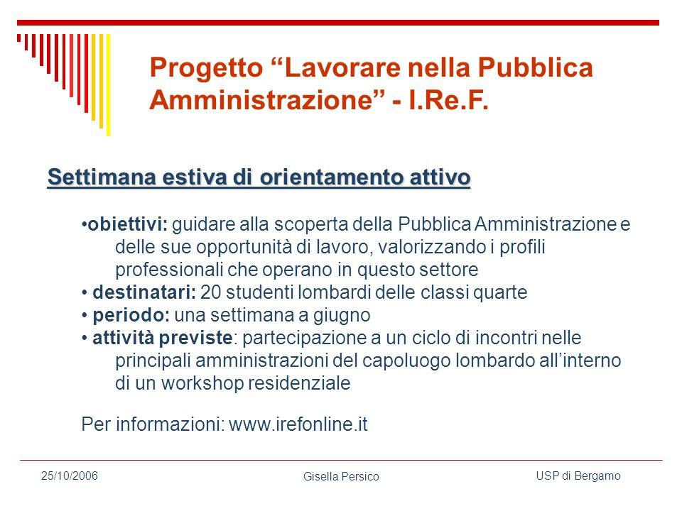 Progetto Lavorare nella Pubblica Amministrazione - I.Re.F.
