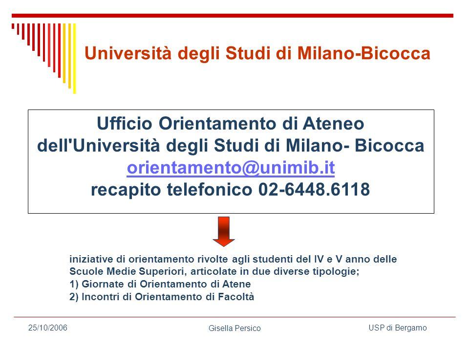 orientamento@unimib.it recapito telefonico 02-6448.6118