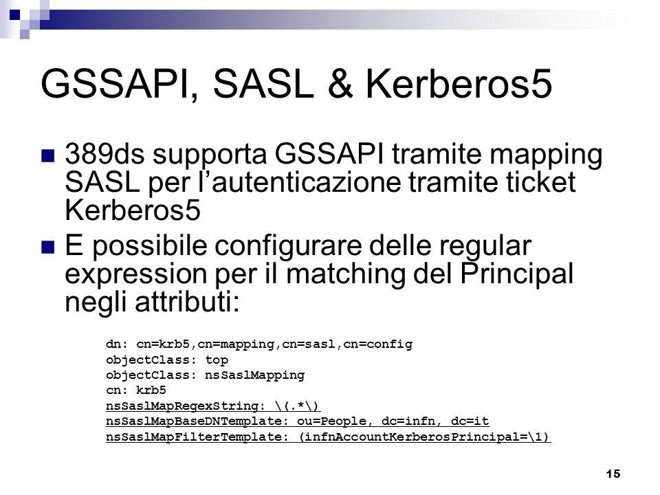 GSSAPI, SASL & Kerberos5 389ds supporta GSSAPI tramite mapping SASL per l'autenticazione tramite ticket Kerberos5.