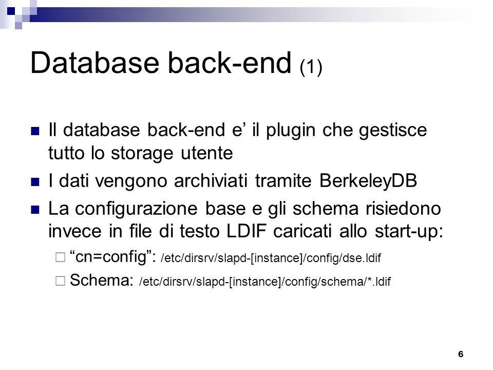 Database back-end (1) Il database back-end e' il plugin che gestisce tutto lo storage utente. I dati vengono archiviati tramite BerkeleyDB.