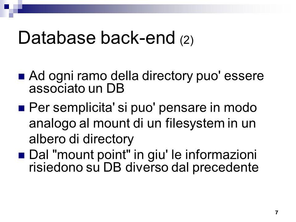 Database back-end (2) Ad ogni ramo della directory puo essere associato un DB.