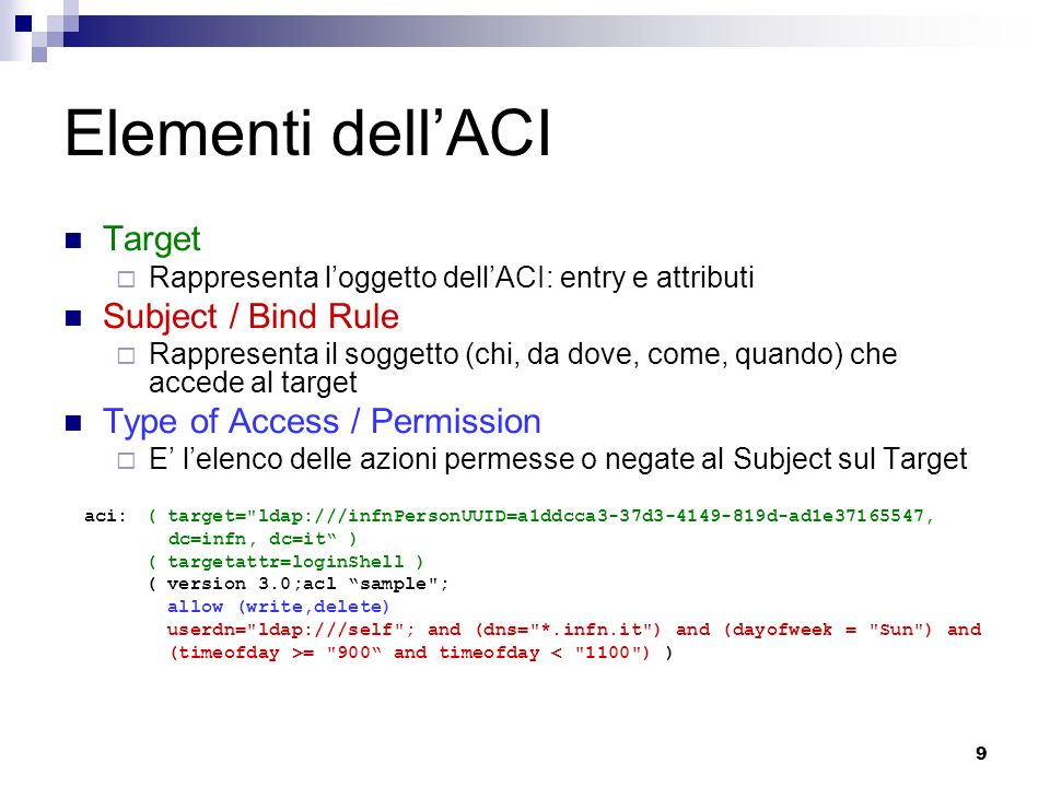 Elementi dell'ACI Target Subject / Bind Rule